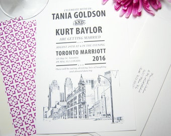 Toronto Flatiron Building Skyline Hand Drawn Wedding Invitations Package (Sold in Sets of 10 Invitations, RSVP Cards + Envelopes)