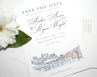 Minneapolis Skyline Save the Date Cards with Watercolor (set of 25 cards and white envelopes)