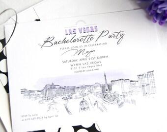 Las Vegas Skyline Hand Drawn Bachelorette Party Invitations (set of 25 cards)