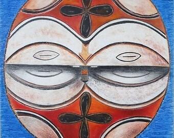 SALE! African Mask Original Mixed Media Art Puerto Rican Art