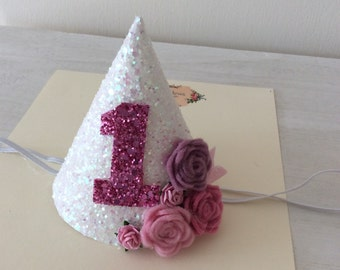 Glitter Birthday Party Hat. Choice of colours & sizes. Pink, white, blue etc and 1st, 2nd birthday etc.