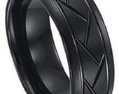 Tire Pattern Ring Black Tungsten  FREE SHIPPING