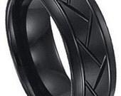 Tire Pattern Black Tungsten Wedding Band FREE SHIPPING
