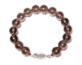 Smoky Quartz and 925 Sterling Silver Bracelet FREE SHIPPING