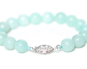 Amazonite Bracelet 10mm Round Amazonite Beads with 925 Sterling Silver Clasp