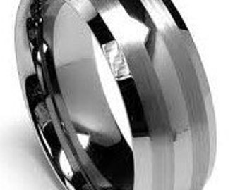 Mens Tungsten Wedding Band Brushed 2 Line Design