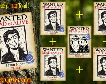 Tangled Flyers - Flynn Rider Wanted Flyers on Thick Card Stock Paper (12 Flyers)
