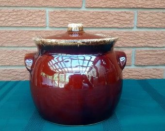 Vintage HULL Brown Drip Bean Pot Crock & Lid Pottery Ovenproof USA Casserole Cookware Cookie Jar
