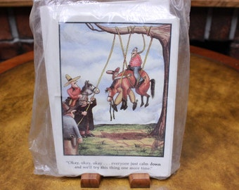 Farside Greeting Cards. Hanging Man and Horse. Vintage 1981 Blank Greeting Cards and Envelops