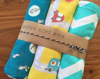 Burp cloths cars mouse chevron - set of 3 - cotton with flannel backing