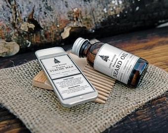 BEARD KIT: Premium Beard Oil, Moustache Wax, and Beard Comb (Sandalwood, Cedarwood, and Orange Scent) - Beard Care Made in Canada