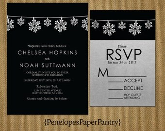 Black & Silver Winter Wedding Invitations,String of Silver Snowflakes, Shimmery Silver Metallic Paper,Opt RSVP,Customizable,Black Envelopes