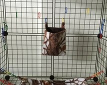 White Camouflage & Brown 8 PC Sugar Glider Cage Set SEAMLESS Double Layer Fleece