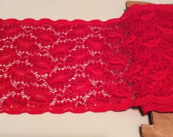 "All Red Floral Stretch Lace Trim *  Sold by the Yard  *  6"" Wide * 4-way Stretch"