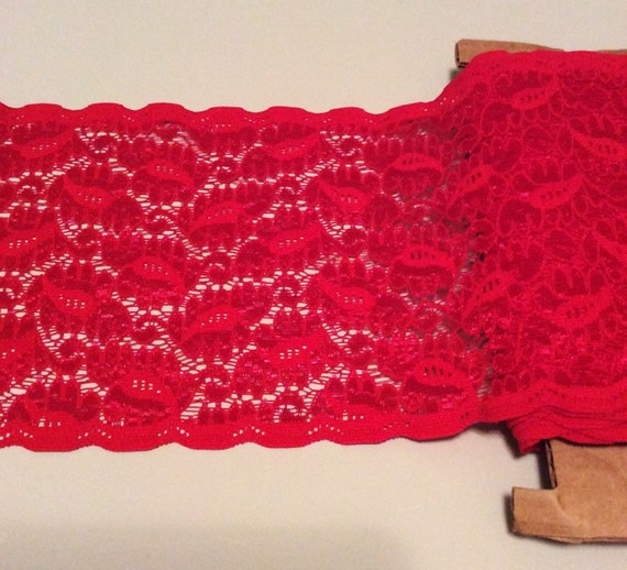 All Red Floral Stretch Lace Trim Sold by the Yard