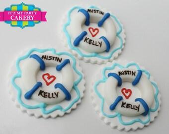 Life Preserver Cupcake Toppers - 1 Dozen