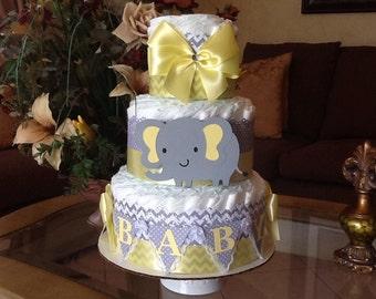Elephant diaper cake/Neutral diaper cake/Yellow and grey elephant baby shower centerpiece