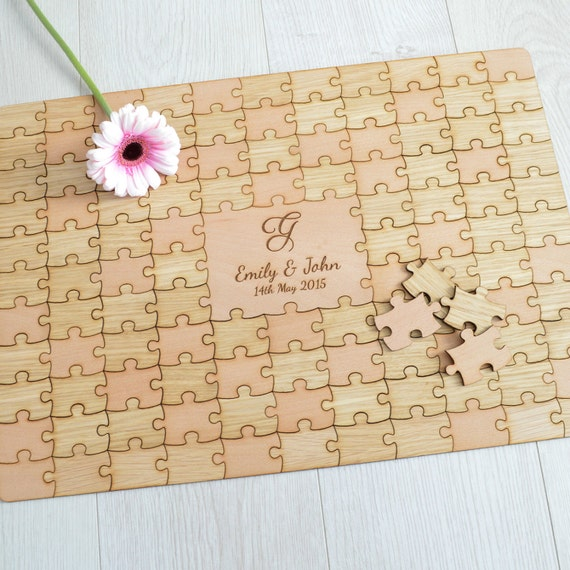 Wedding Photo Books Uk: Personalised Wooden Wedding Jigsaw Puzzle Piece Guestbook