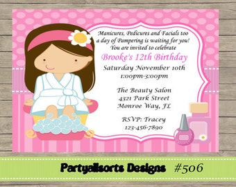 DIY - Spa/ Pamper Invitations