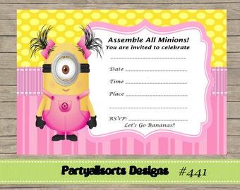 DIY - Minions Girls FILL In Yourself Invitations