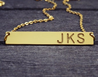 Gold Bar Necklace, Kim Kardashian style necklace, Nameplate, Initial, Name necklace, Graduation Gift