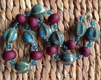 Plum Pudding - Blue & Plum Statement Necklace