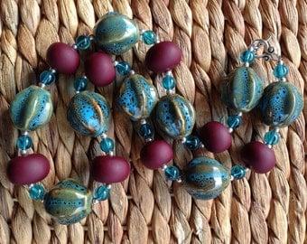 Plum Pudding - Blue & Plum Statement Necklace