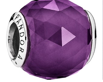 new  Authentic Genuine Pandora Silver Royal Violet Goemetric Facets Charm - 791722NRP NEW