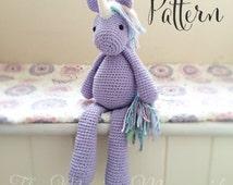 Lavender the Unicorn Crochet Amigurumi Pattern PDF E-book Toy