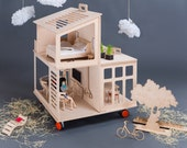 Natural Wooden Toy Dollhouse - Modern Plywood Doll House - Wooden Dollhouse - Montessori Dollhouse - Wooden Toys - Child's Wooden Dollhouse