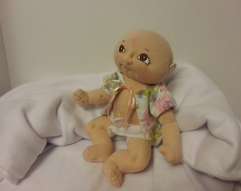 Soft Sculpture Baby Doll, Baby Doll, Cloth Doll, Handmade Doll