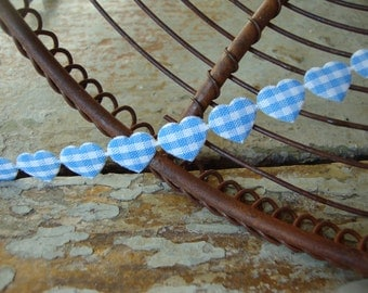 Adhesive Light Blue and White Gingham Check Hearts