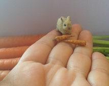 Miniature Bunny, Handmade Bunny, Dollhouse Bunny, Flocked Bunny, Mini Bunny, Clay Bunny, Sculpted Bunny, Micro Bunny, Dollhouse Animals