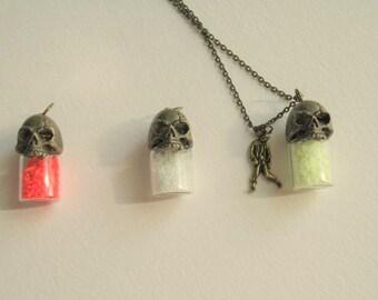 Zombie Skull Glass Bottle Necklace, Glow in the Dark Glass Frit, Zombie Charm, Walker, Walking Dead, Vial Necklace, Tiny Bottle Jewelry