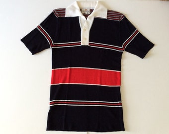Vintage Men's Sweater | Short Sleeved Collar, Striped | Navy Blue with red and white | Size Large