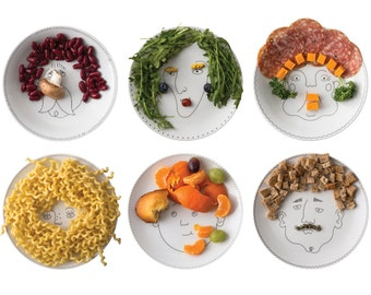 Service de Famille - six illustrated plates - a porcelain family portrait - create their haircut with food