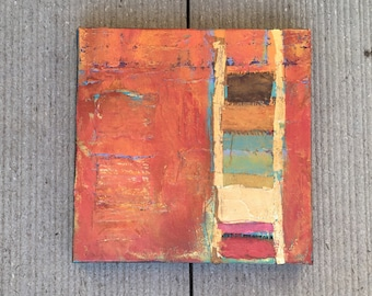 """Contemporary Modern Art - an original mixed-media abstract painting on stretched canvas 6""""x6"""". Beautiful fall colors!  Ready to hang!"""