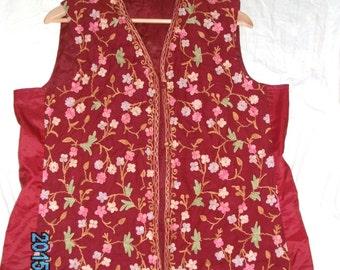 70s Red Folk Waistcoat Size 16