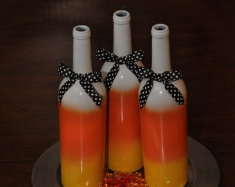 Candy Corn Wine Bottles (Set of 3), Halloween Home Decor, Halloween Table Centerpieces