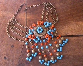 "Necklace (85) plastron ""Flamenco"", coral, Golden & turquoise, years 1950's"