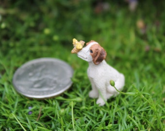 Miniature puppy, small adorable dog,terrarium,fairy garden