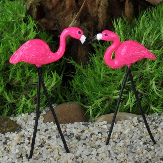 Mini Flamingo Lawn Ornaments 2 Terrariums Fairy Garden