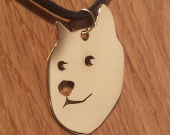 Doge Pendant Necklace in Brass, Copper or Aluminium on Black Cord Choker - Free Shipping - Much geeky. Very meme. Wow.