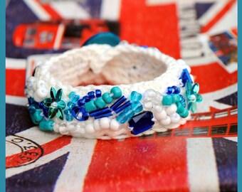 """Crocheted bracelet, crochet bracelet, bangle, jewelry """"Ocean Breeze"""""""