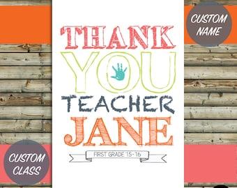 Custom Thank You Teacher Card Design   Printable Digital File  End of Year Gift   KFT Original Design