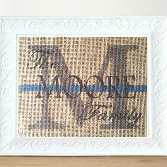Wedding Gift List Usa : ... Anniversary Print- Family Name Sign, Police Officer Wedding Gift, USA