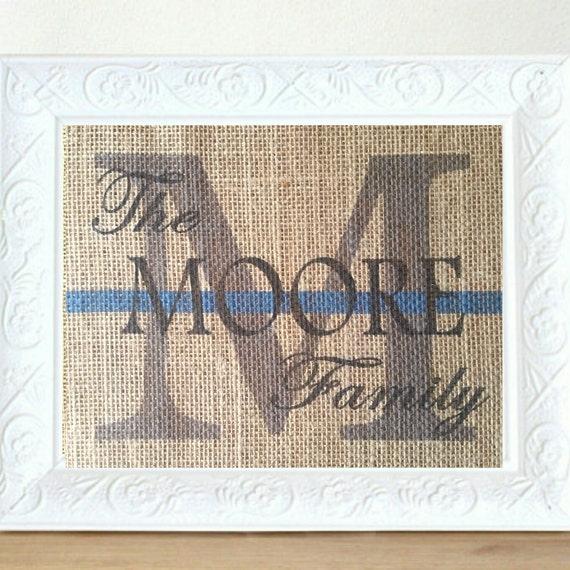 ... Anniversary Print- Family Name Sign, Police Officer Wedding Gift, USA