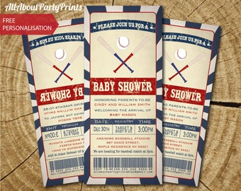 Baseball ticket Vintage baby shower Invitation-Invitation Printable-PDF format