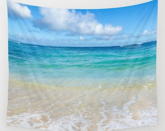 Hawaiian beach Wall Tapestry, Tropical, turquoise, ocean wall tapestry, sea, coastal style, wall hanging decor, grommets, coastal decor