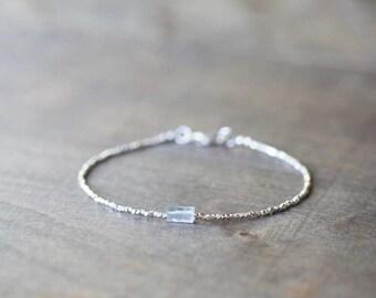 Ultra Delicate Fine Silver Bracelet with Aquamarine, Skinny Karen Hill Tribe Beaded Stacking Bracelet, Sterling Silver Aquamarine Jewelry